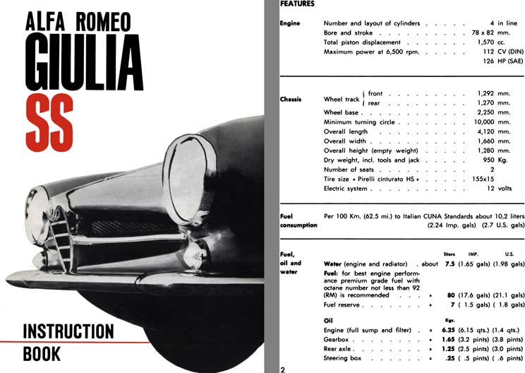 Alfa Romeo 1963 - Alfa Romeo Giulia SS Instruction Book