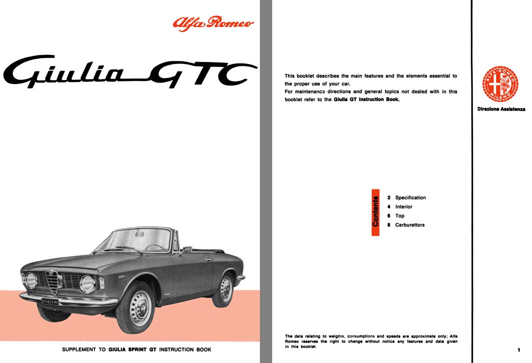 Alfa Romeo 1965 - 1965 Giulia GTC Supplement to Giulia Sprint GT Instruction Book