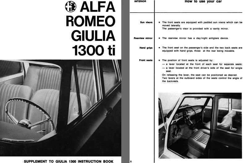 Alfa Romeo 1966 - 1966 Alfa Romeo Giulia 1300 ti Supplement to Giulia 1300 Instruction Book
