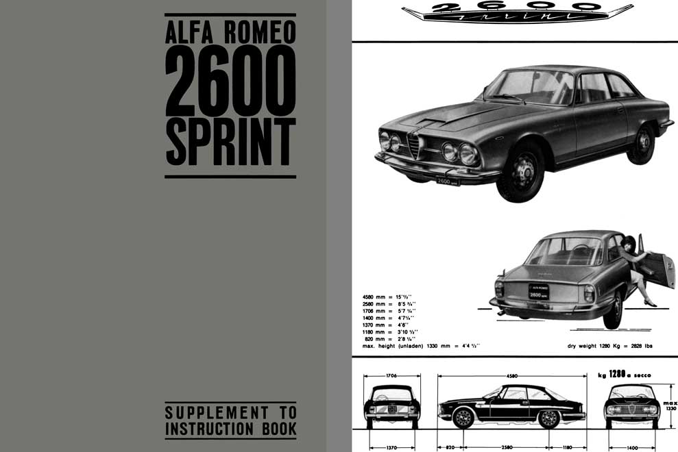 Alfa Romeo 1966 - Alfa Romeo 2600 Sprint Supplement to Instruction Book