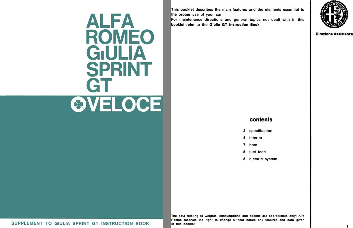 Alfa Romeo 1966 - Alfa Romeo Giulia Sprint GT Veloce Supplement to Giulia Sprint GT Instruction Book