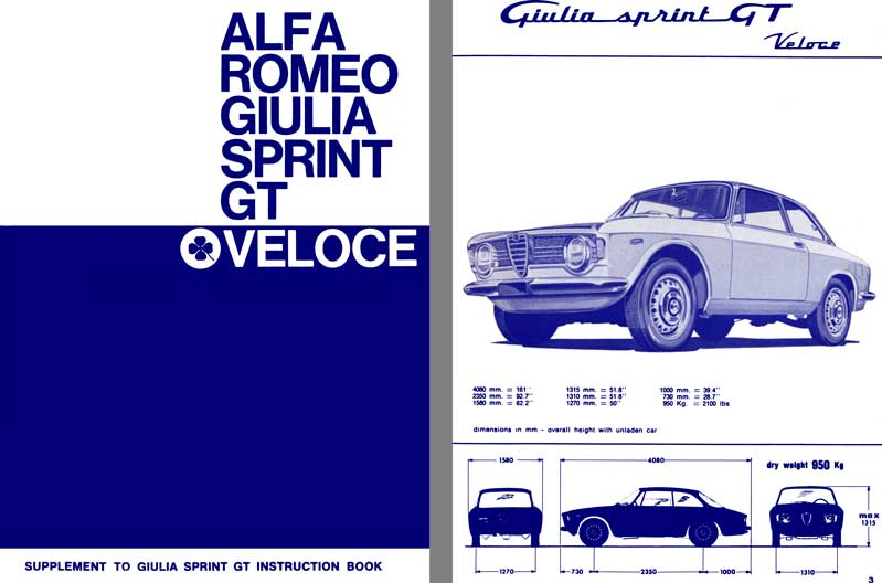 Alfa Romeo 1967 - Alfa Romeo Giulia Sprint GT Veloce Supplement to Giulia Sprint GT Instruction Book