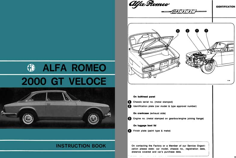 Alfa Romeo 1972 - Alfa Romeo 2000 GT Veloce Instruction Book