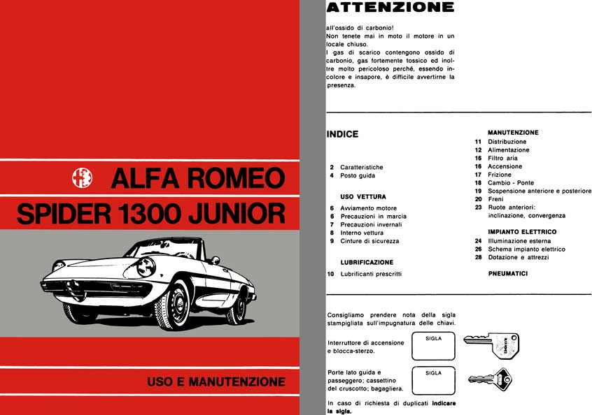 Alfa Romeo 1972 - Alfa Romeo Spider 1300 Junior Owners Manual (In Italian)