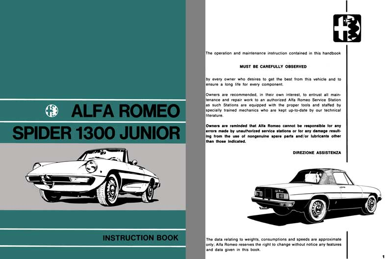 Alfa Romeo 1972 - Alfa Romeo Spider Junior 1300 Instruction Book