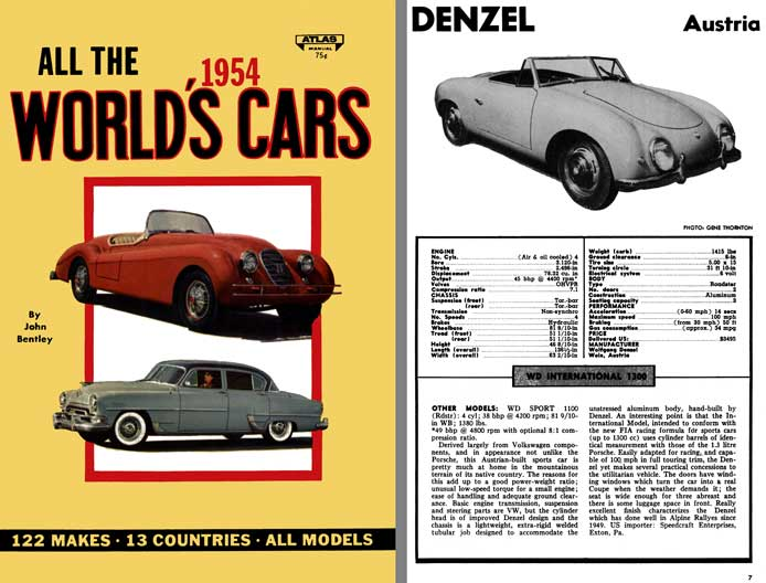 All The World's Cars 1954 - 122 Makes - 13 Countries - All Models by John Bentley