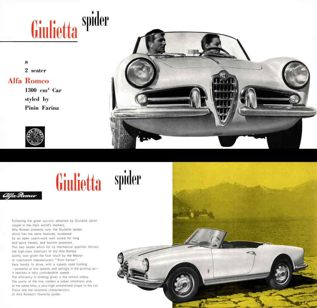 Regress Press Llc Automobile Catalogs Featuring Italian Automobiles 1955 Packard Wiring Diagram Alpha Romeo Giulietta Spider 1957 A Two Seater Alfa 1300 Cm Car Styled By Pinin Farina