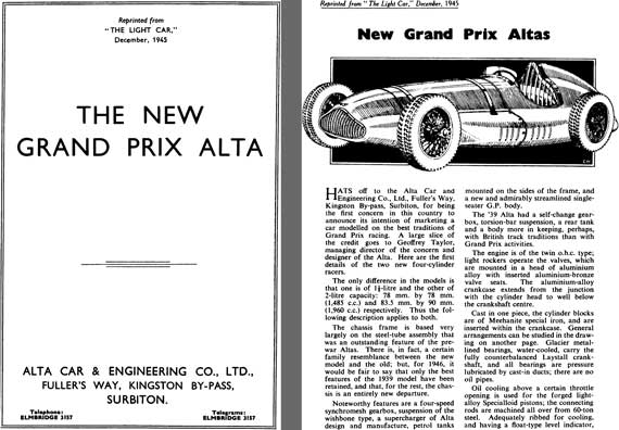 "Alta 1945 - The New Grand Prix Alta - Reprinted from ""The Light Car"" December 1945"