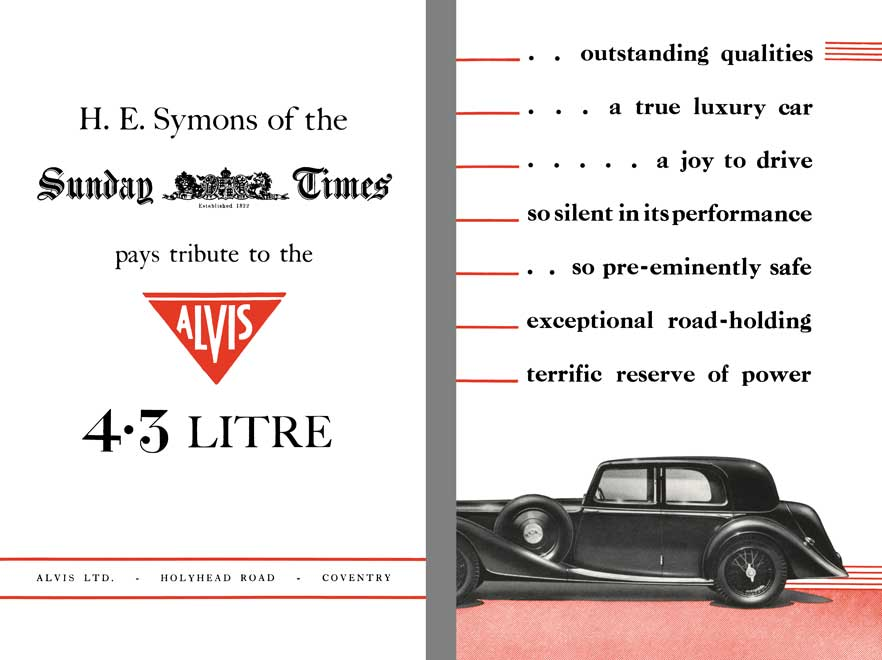 Alvis 1937 - H.E. Symons of the Sunday Times Pays Tribute to the Alvis 4.3 Litre