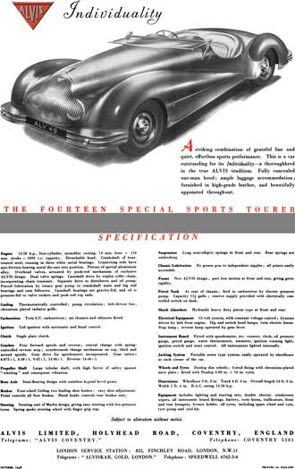 Alvis 1948 - Alvis Individually - The Fourteen Special Sports Tourer - Spec Sheet