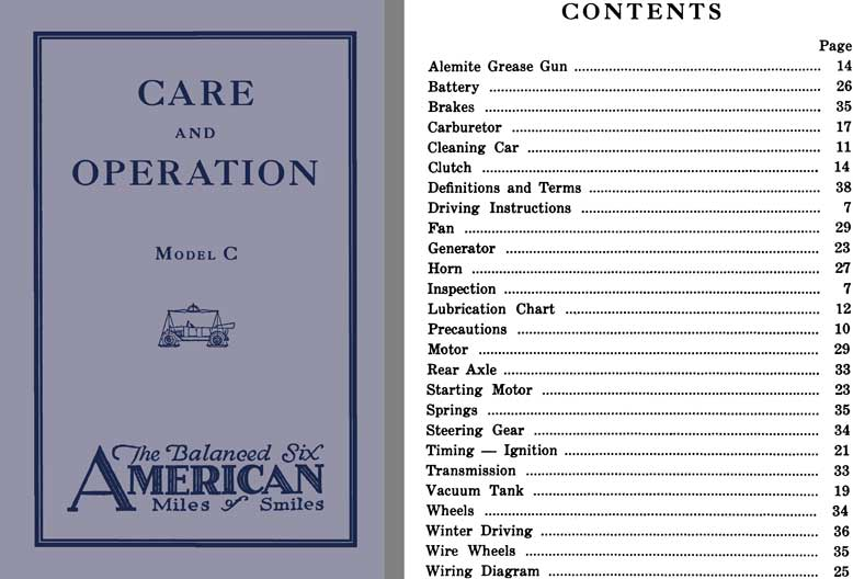 American 1921 - Care and Operation Model C - The Balanced Six American - Miles of Smiles