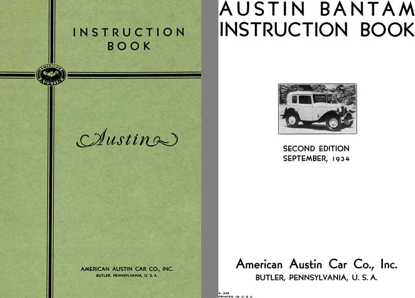 American Austin 1934 - Austin Bantam Instruction Book, Second Edition