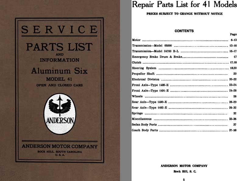Anderson 1924 - 1924 Anderson Aluminum Six Model 41 Service Parts List