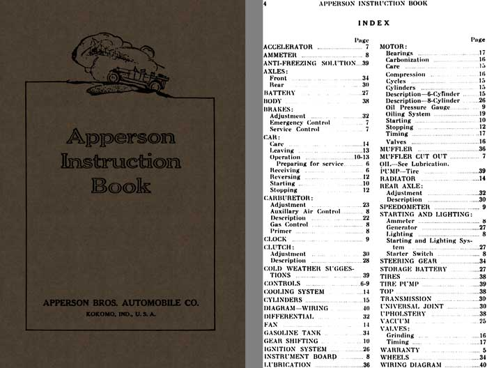 Apperson 1916 & 1917 - Apperson Instruction Book (Apperson Roadplane)