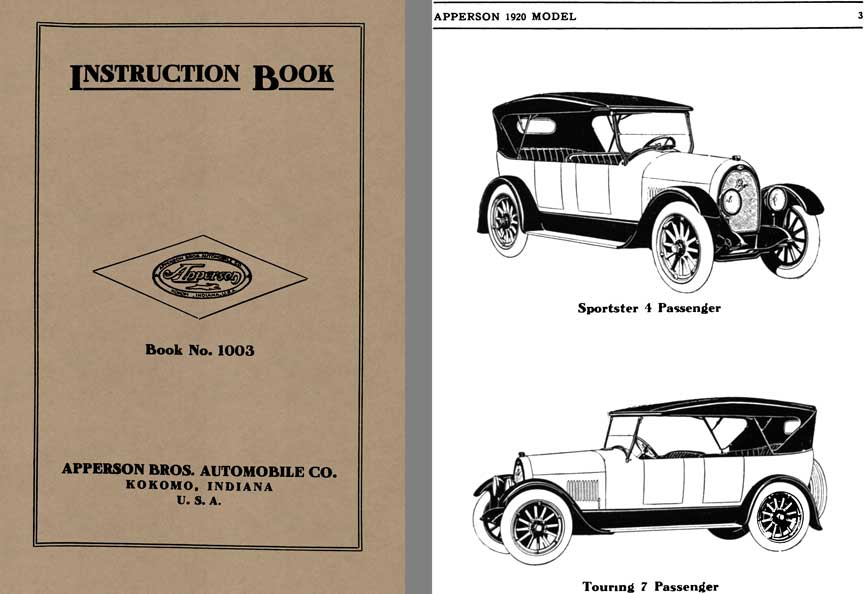 Apperson 1920 - Instruction Book Apperson Book No. 1003