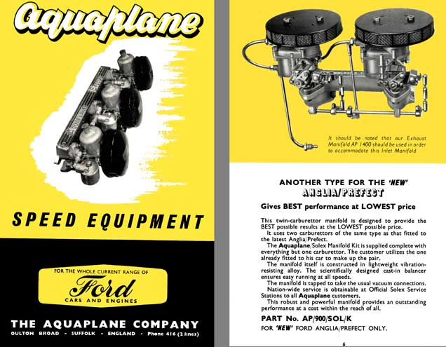 Aquaplane Speed Equipment - For the Whole Current Range of Ford Cars & Engines, Price List, Instruct