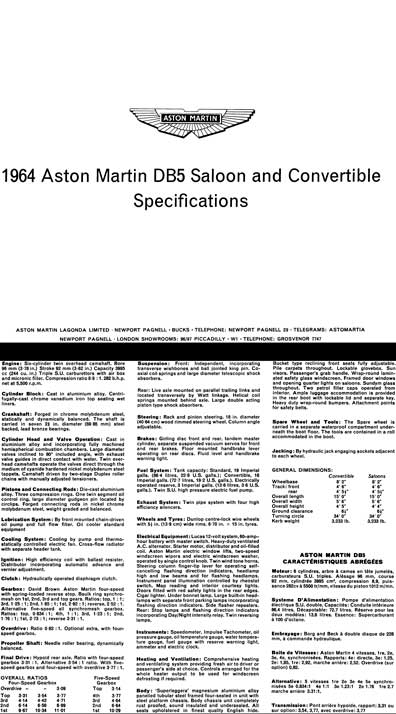 Aston Martin 1964 - 1964 Aston Martin DB5 Saloon and Convertible Specifications