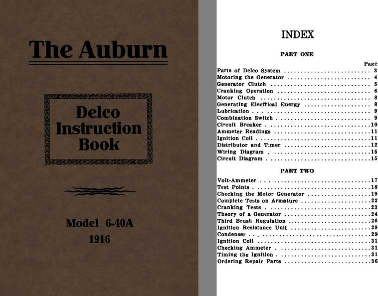 Auburn 1916 - The Auburn Delco Instruction Book Model 6-40A 1916