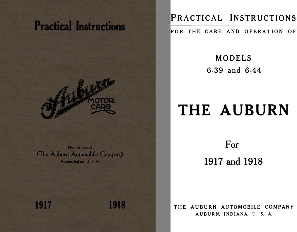 Auburn 1917-1918 - Practical Instructions Auburn Motor Cars Models 6-39 & 6-44