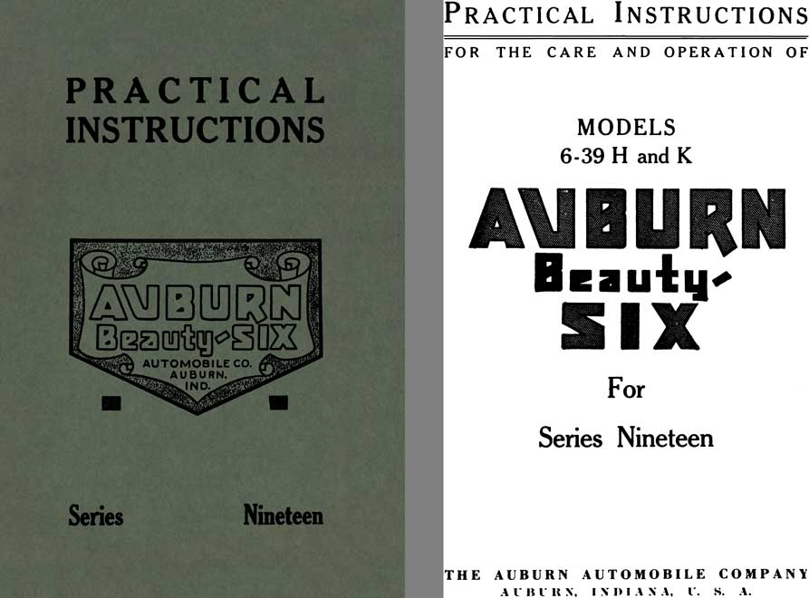 Auburn 1919 - Practical Instructions Auburn Beauty-Six Series Nineteen