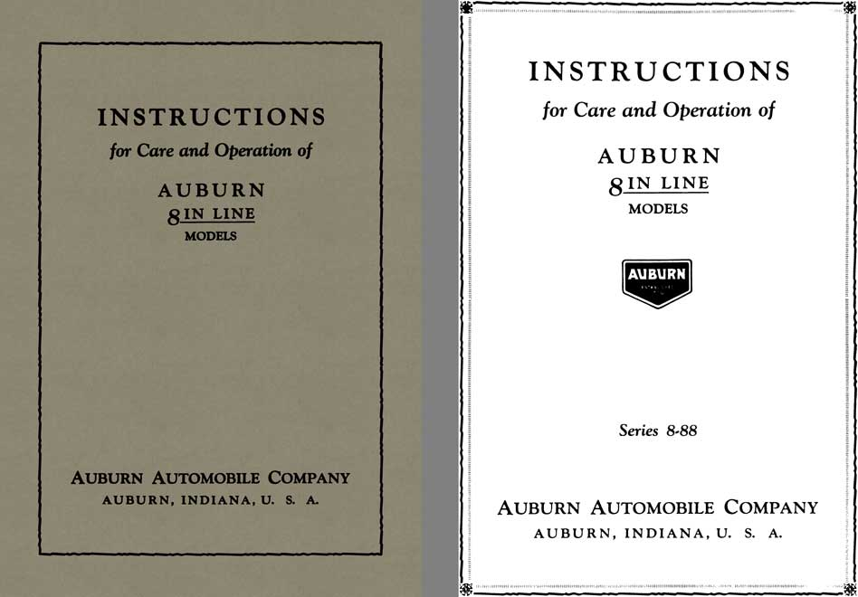 Auburn 1925 - Instructions for Care and Operation of Auburn 8 In Line Models