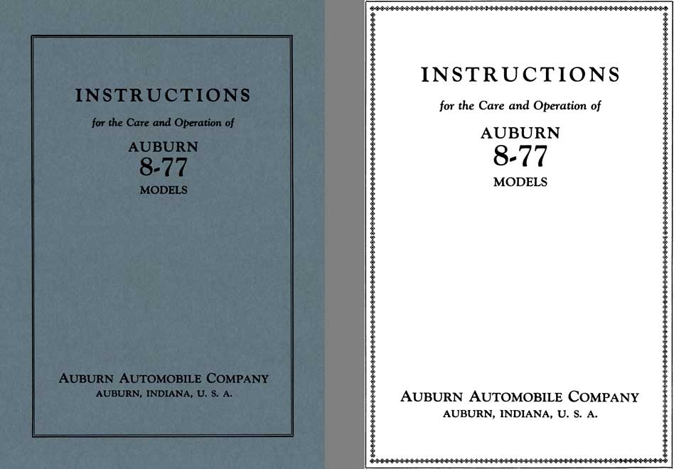 Auburn 1927 - Instructions for the Care and Operation of Auburn 8-77 Models