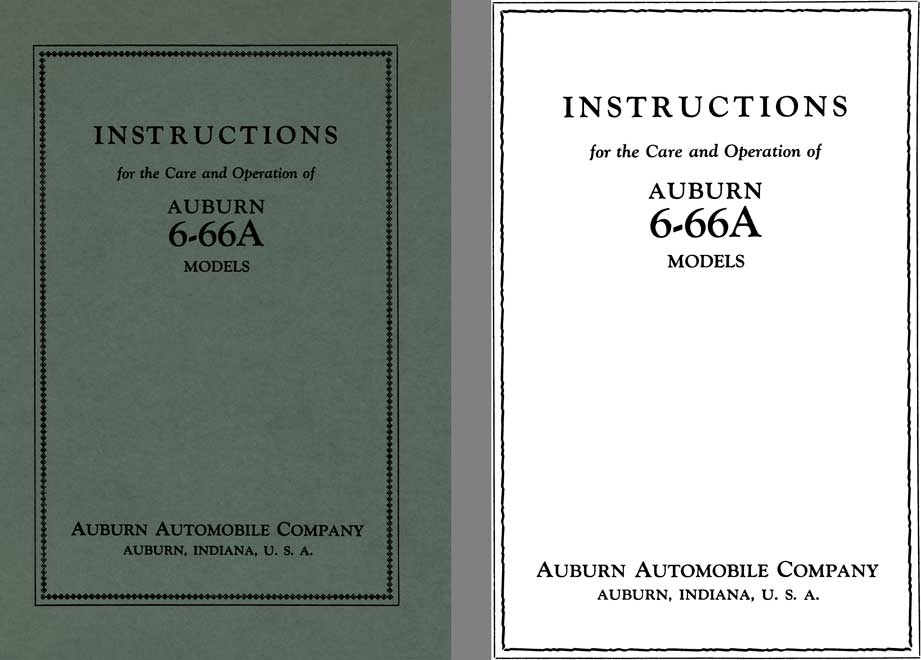 Auburn 1927 - Instructions for the Care and Operation of Auburn 6-66A Models