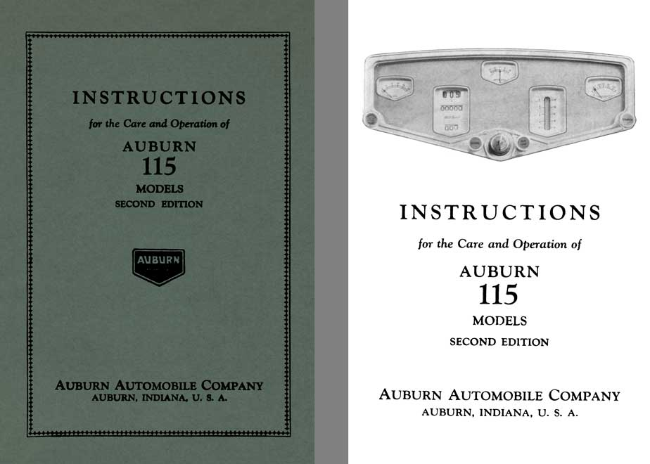 Auburn 1929 - Instructions for the Care and Operation of Auburn 115 Models 2nd Edition