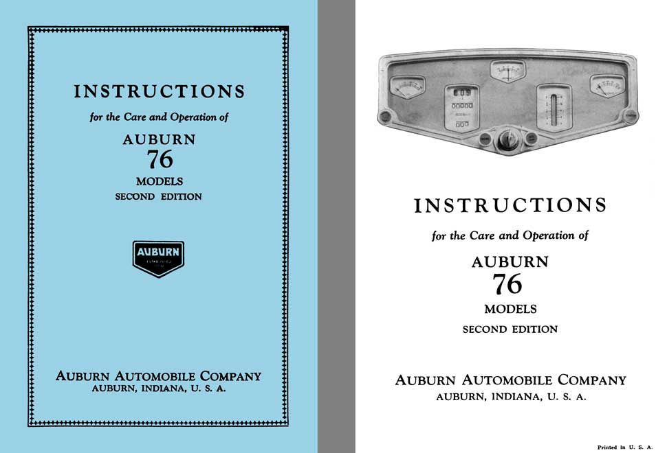 Auburn 1929 - Instructions for the Care and Operation of Auburn 76 Models 2nd Edition