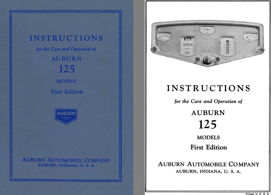 Auburn 1930 - Instructions for the Care and Operation of Auburn 125 Models 2nd Edition
