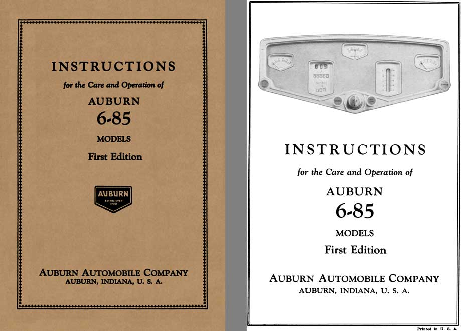Auburn 1930 - Instructions for the Care and Operation of Auburn 6-85 Models 1st Edition