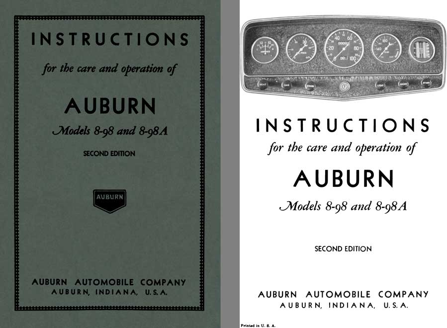 Auburn 1932 - Instructions for the Care and Operation of Auburn Models 8-98 and 8-98A 2nd Edition