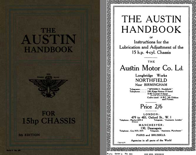 Austin 1919 - The Austin Handbook for 15hp Chassis - 5th Edition