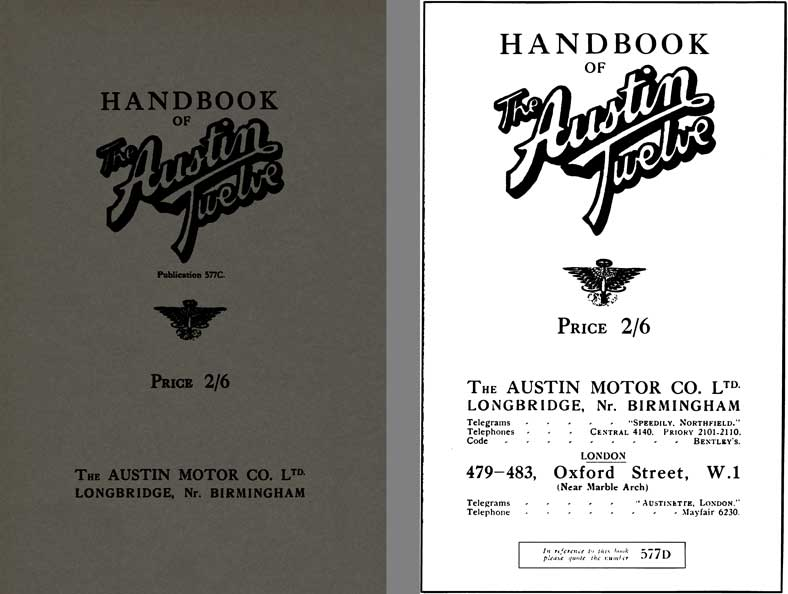 Austin 1928 - Handbook of The Austin Twelve Publication 577C