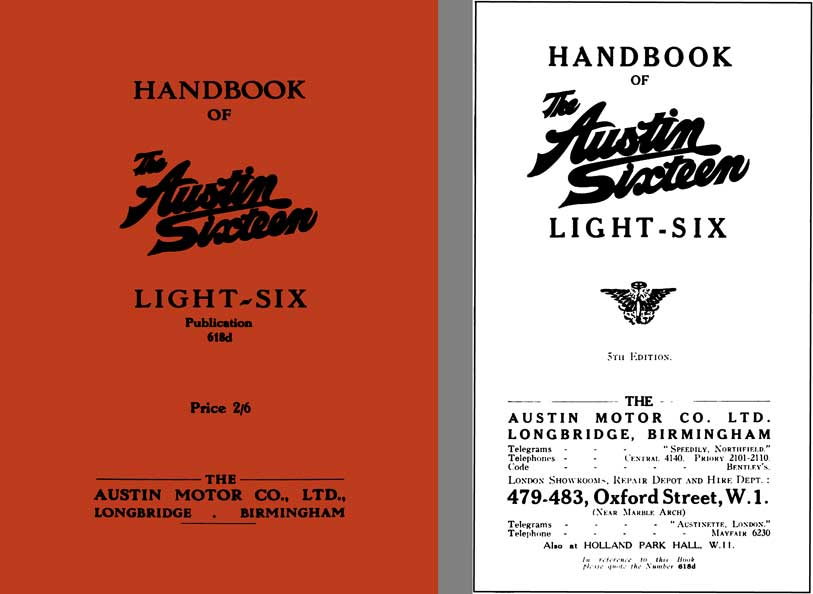 Austin 1929 - Handbook of The Austin Sixteen Light Six Publication 618d