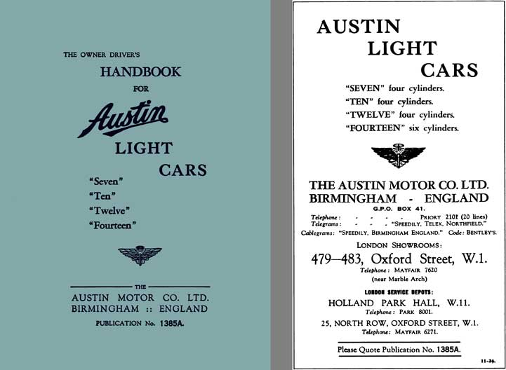 Austin 1936 - Handbook for Austin Light Cars Seven, Ten, Twelve, Fourteen