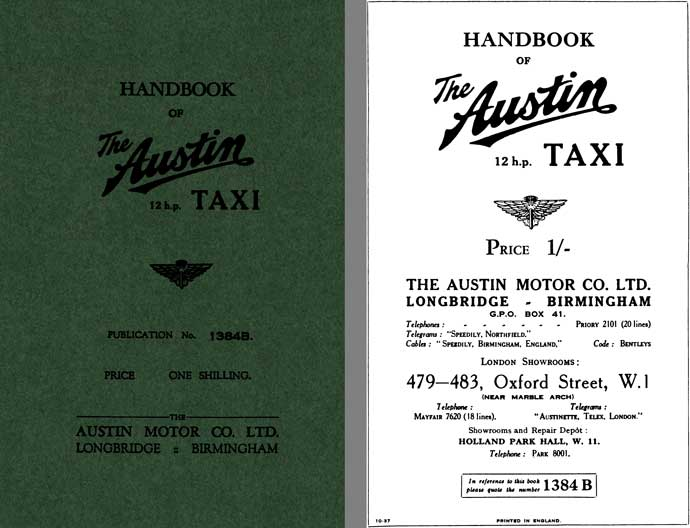 Austin 1937 - Handbook of The Austin 12hp Taxi