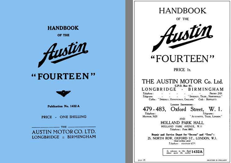 Austin 1937 - Handbook of the Austin Fourteen Pub. 1432A