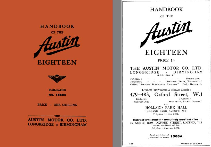 Austin 1938 - Handbook of the Austin Eighteen Pub# 1568A