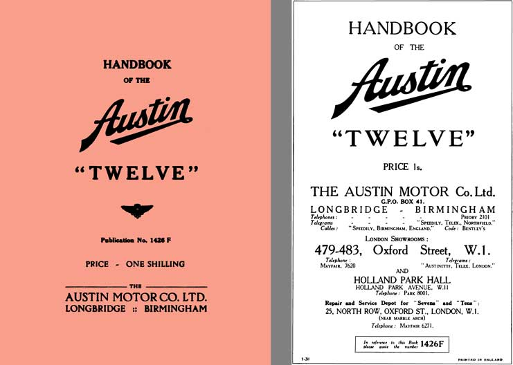 Austin 1938 - Handbook of the Austin Twelve Pub# 1426F