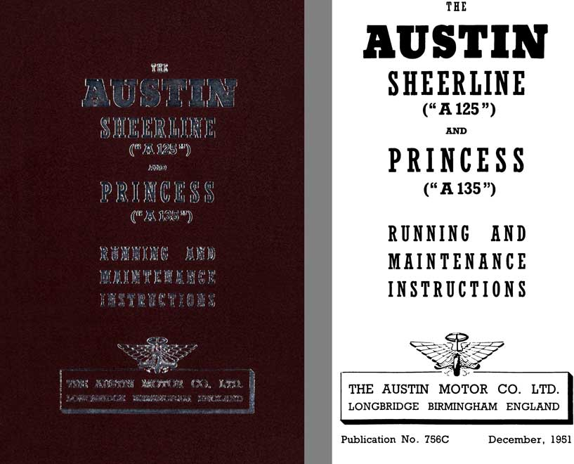 Austin 1951 - The Austin Sheerline A125 & Princess A135 - Running and Maintenance Instructions