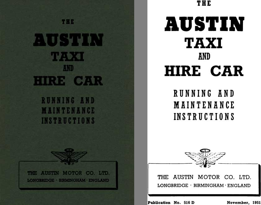 Austin 1951 - The Austin Taxi and Hire Car - Running and Maintenance Instructions