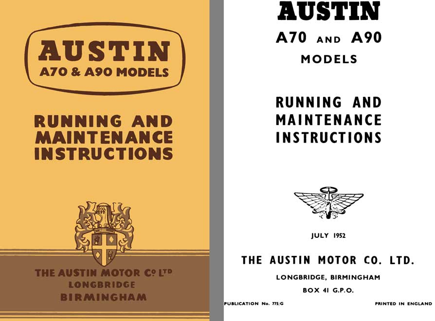 Austin 1952 - Austin A70 & A90 Models - Running and Maintenance Instructions