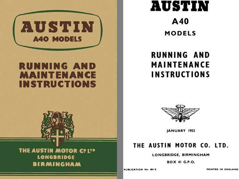 Austin 1953 - Austin A40 Models - Running and Maintenance Instructions
