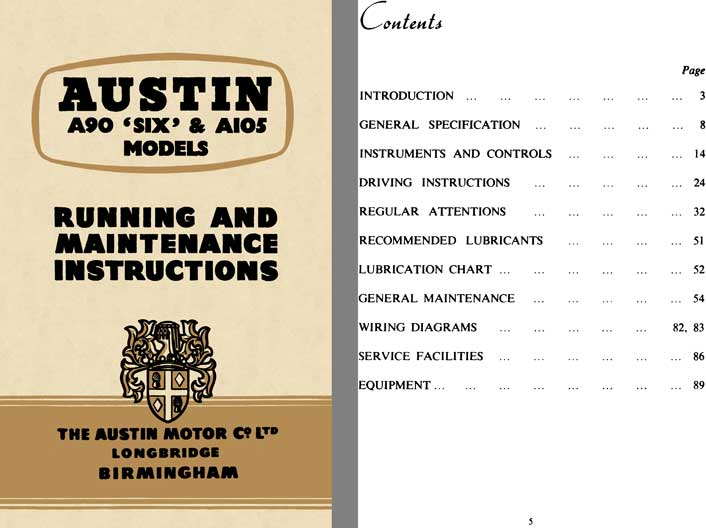 Austin 1956 - Austin A90 Six & A105 Models - Running and Maintenance Instructions