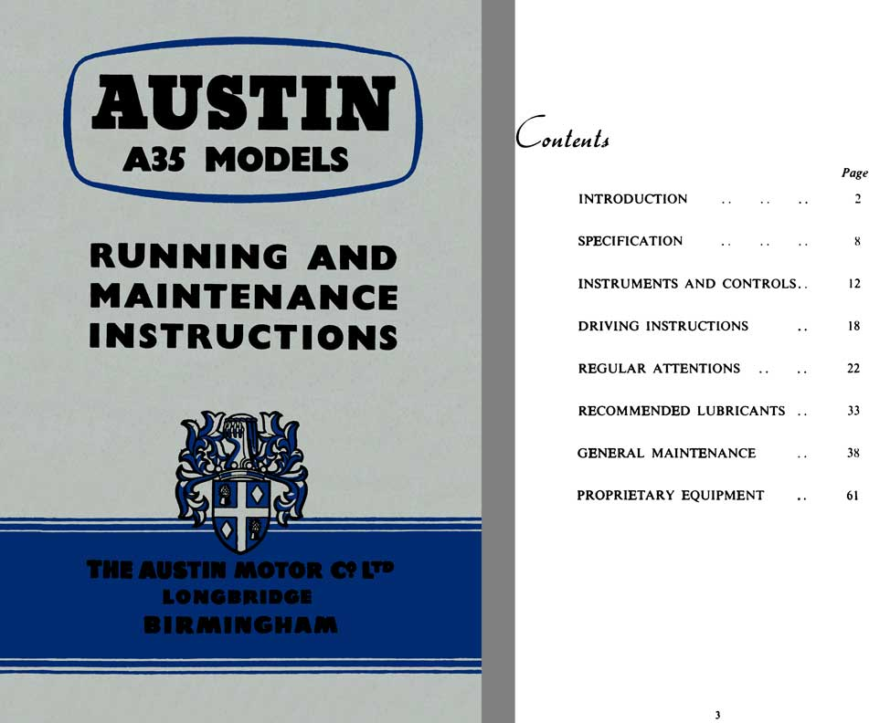 Austin 1957 - Austin A35 Models - Running and Maintenance Instructions 4th Edition
