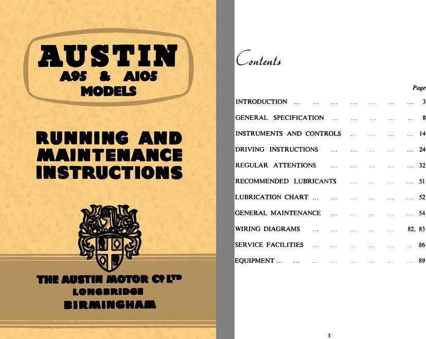 Austin 1957 - Austin A95 & A105 Models - Running and Maintenance Instructions - 2nd Edtion
