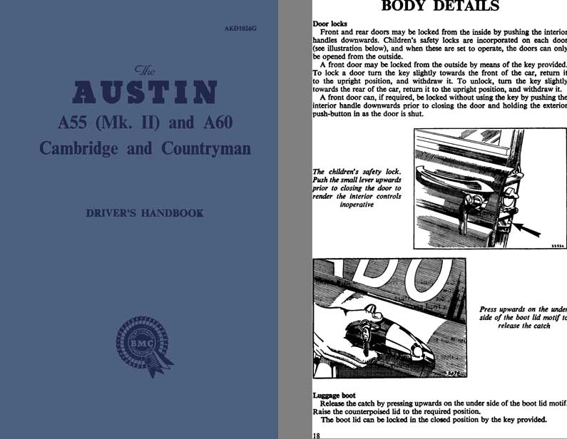 Austin 1962 - Austin A55 (Mk. II) and A60 Cambridge and Countryman Driver's Handbook