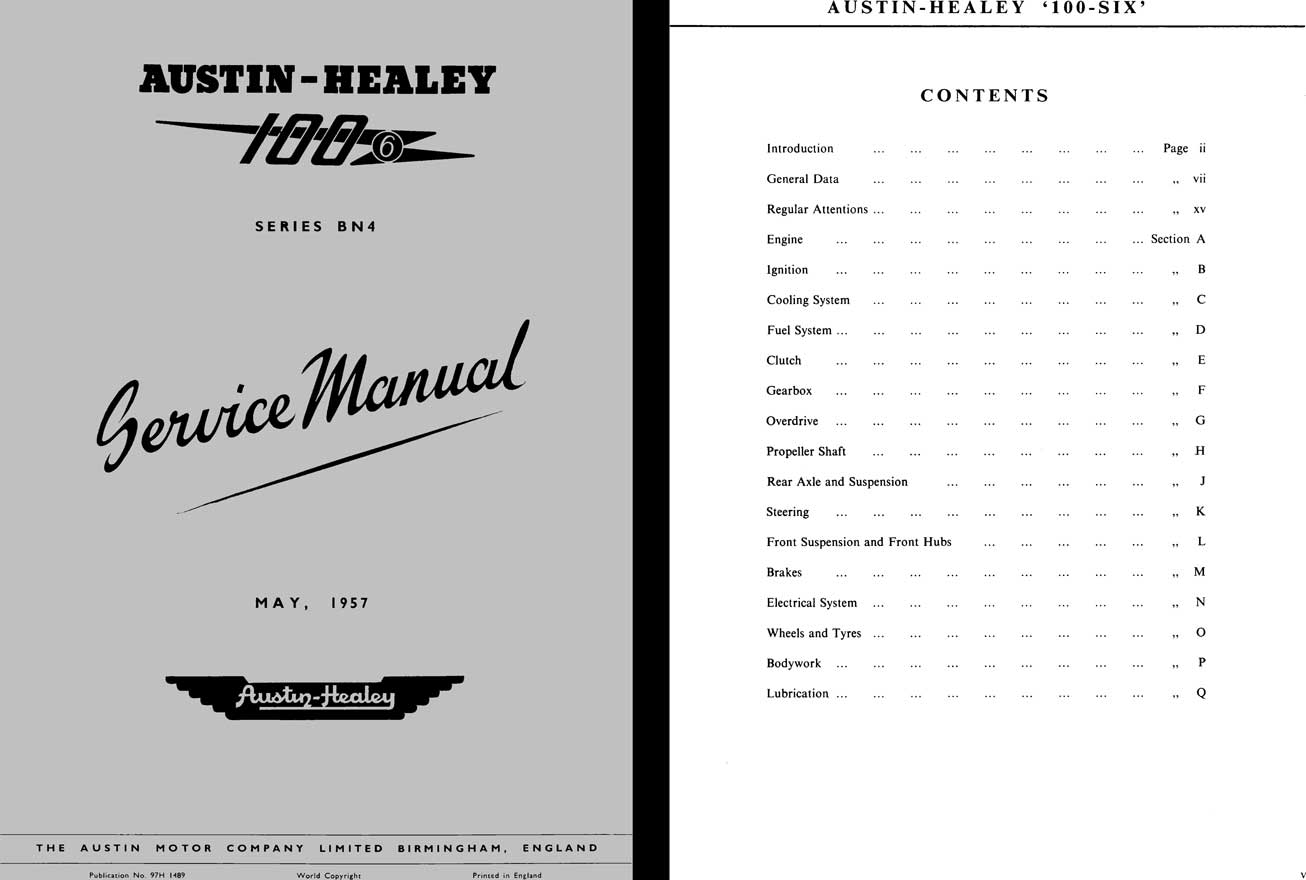 Austin Healey 1957 - 1957 Austin Healey 100 Series BN4 Service Manual
