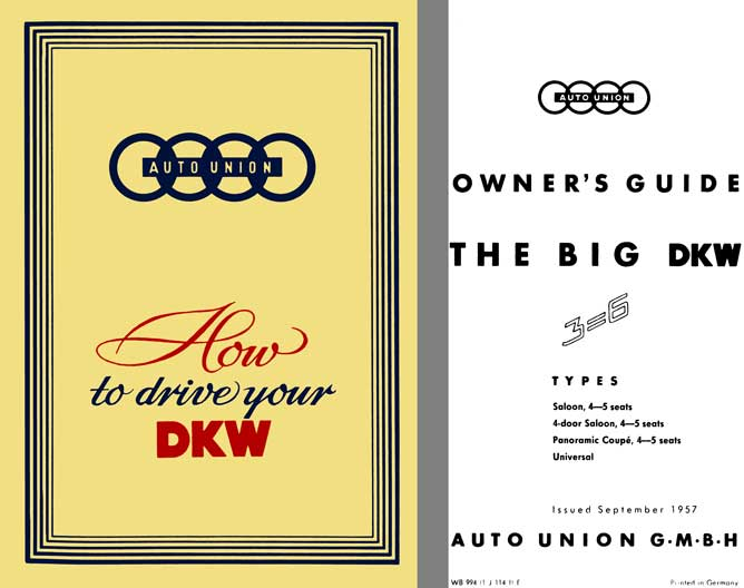 Auto Union 1957 - 1957 Auto Union Owners Guide - How to drive your DKW 3-6